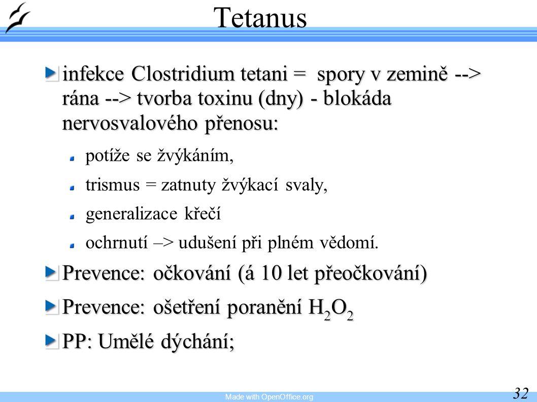 Made with OpenOffice.org 32 Tetanus infekce Clostridium tetani = spory v zemině --> rána --> tvorba toxinu (dny) - blokáda nervosvalového přenosu: potíže se žvýkáním, trismus = zatnuty žvýkací svaly, generalizace křečí ochrnutí –> udušení při plném vědomí.