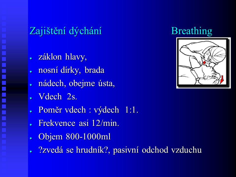 Zajištění dýchání Breathing ● záklon hlavy, ● nosní dírky, brada ● nádech, obejme ústa, ● Vdech 2s.