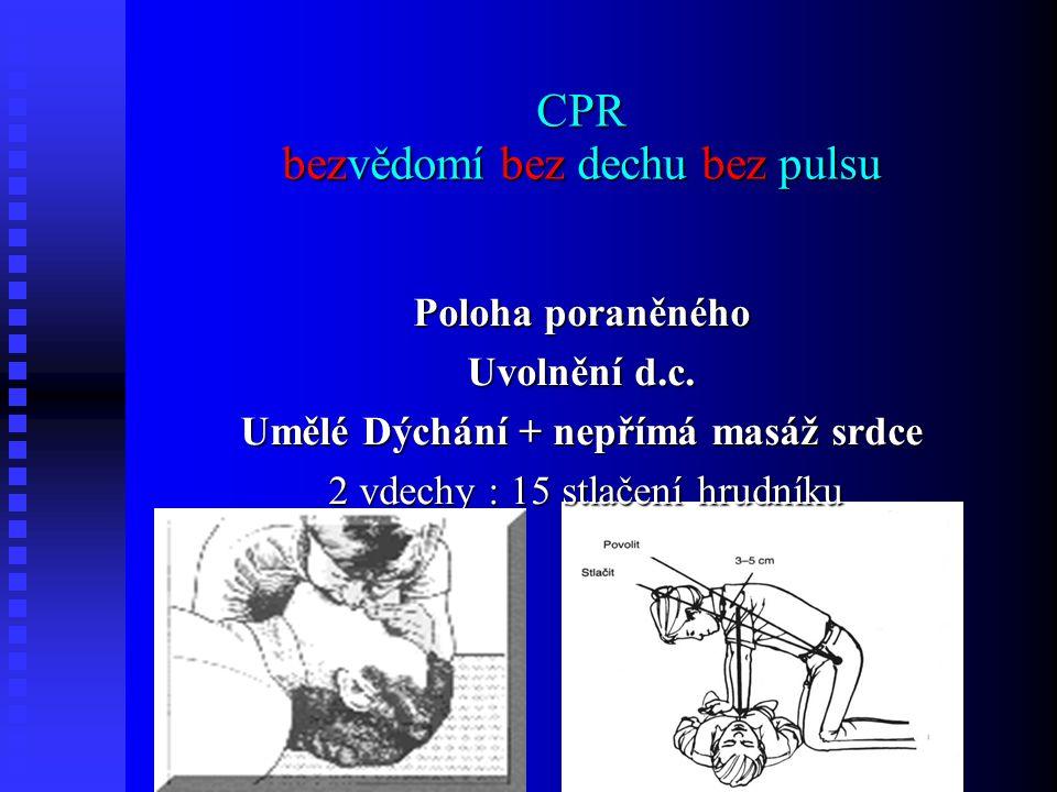 CPR bezvědomí bez dechu bez pulsu Poloha poraněného Uvolnění d.c.