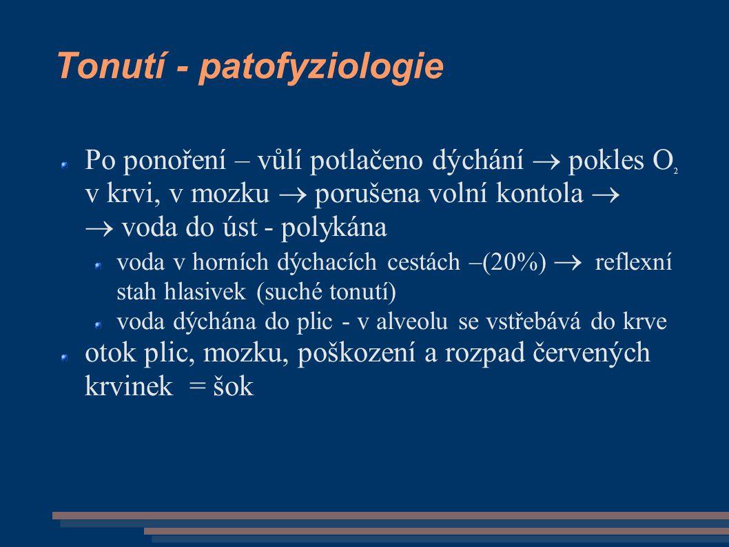 Tonutí - patofyziologie Po ponoření – vůlí potlačeno dýchání  pokles O 2 v krvi, v mozku  porušena volní kontola   voda do úst - polykána voda v