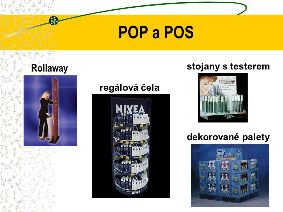 POP a POS Rollaway dekorované palety regálová čela stojany s testerem