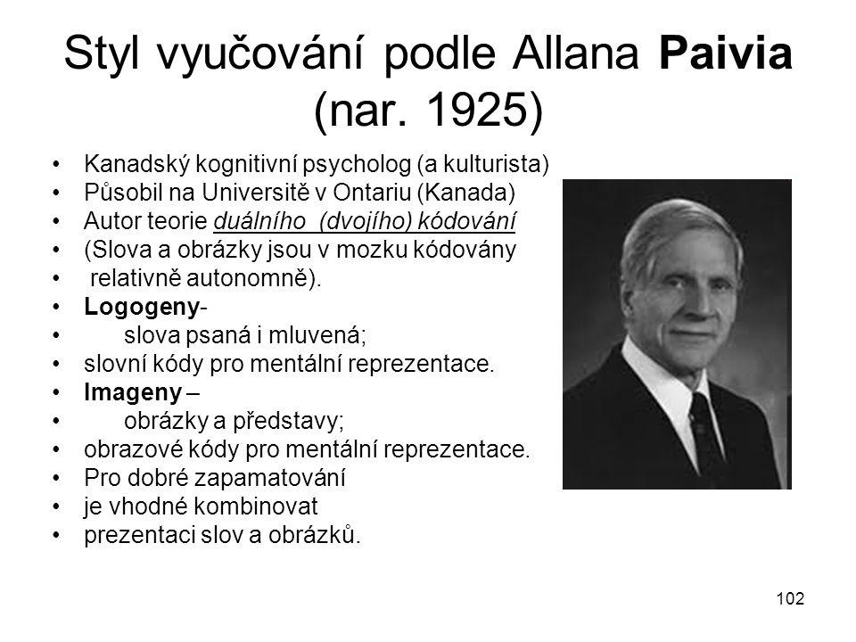 102 Styl vyučování podle Allana Paivia (nar.