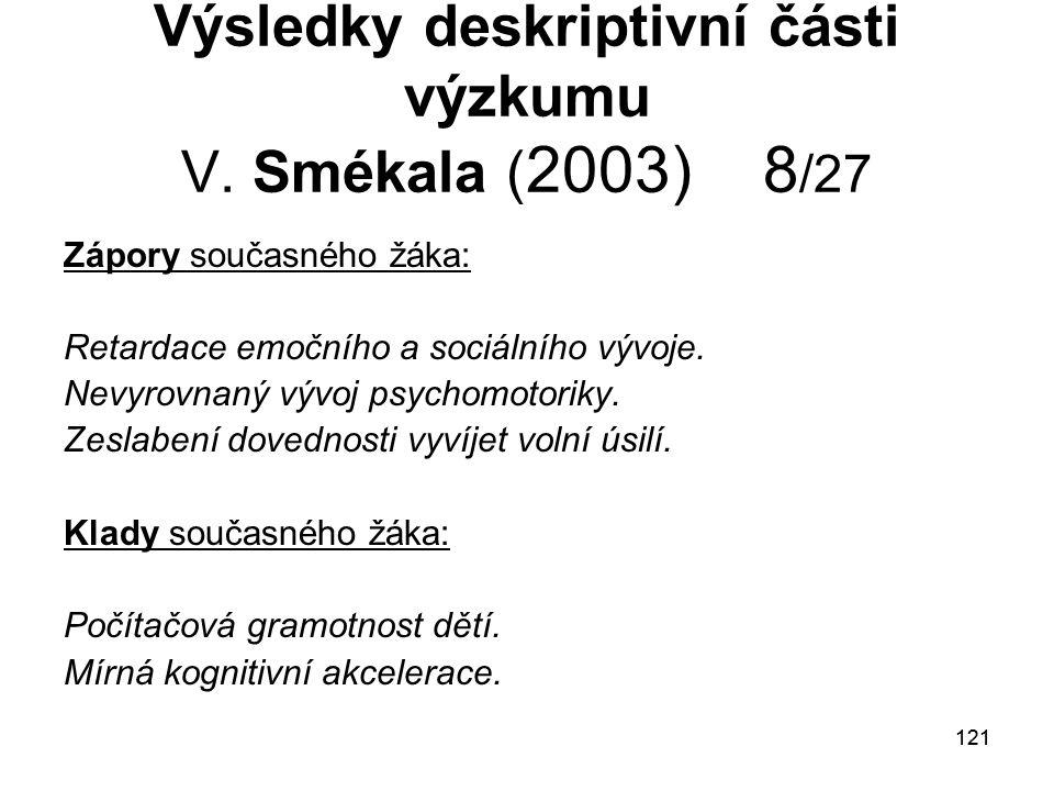 121 Výsledky deskriptivní části výzkumu V.