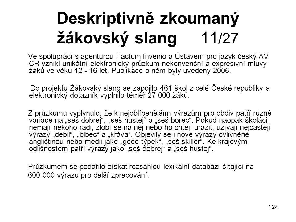 124 Deskriptivně zkoumaný žákovský slang 11 /27 Ve spolupráci s agenturou Factum Invenio a Ústavem pro jazyk český AV ČR vznikl unikátní elektronický průzkum nekonvenční a expresivní mluvy žáků ve věku 12 - 16 let.