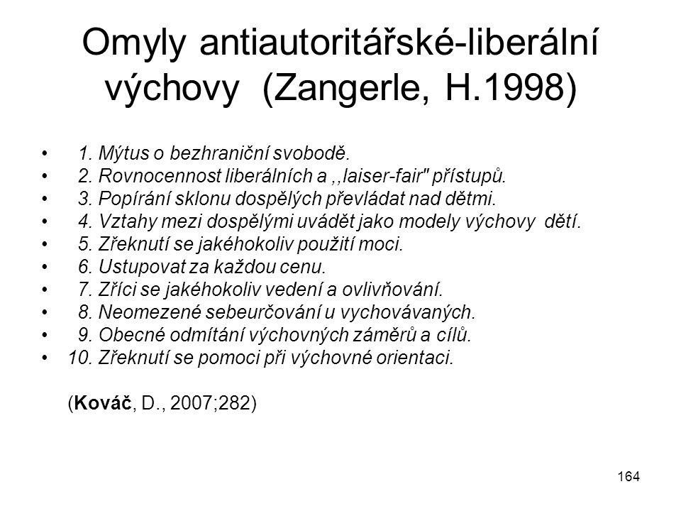 164 Omyly antiautoritářské-liberální výchovy (Zangerle, H.1998) 1.