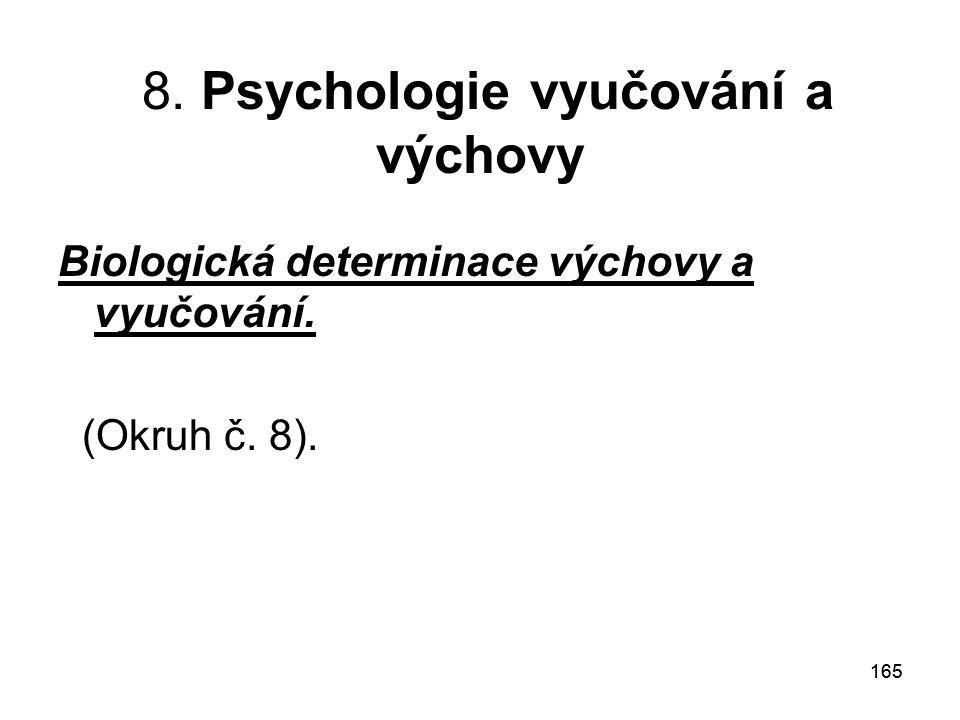 165 8. Psychologie vyučování a výchovy Biologická determinace výchovy a vyučování. (Okruh č. 8).