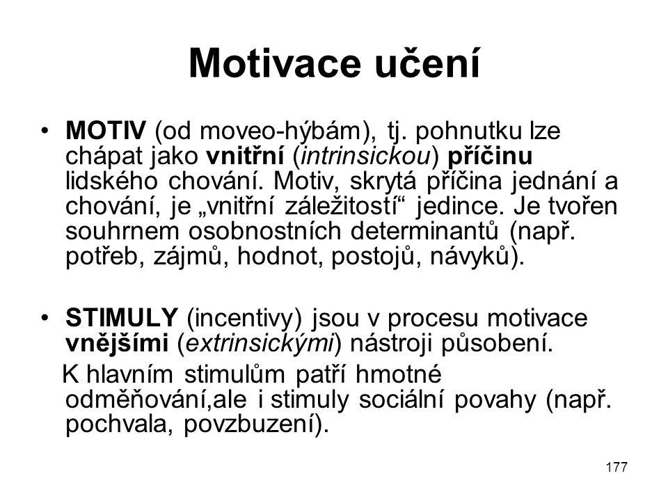 177 Motivace učení MOTIV (od moveo-hýbám), tj.