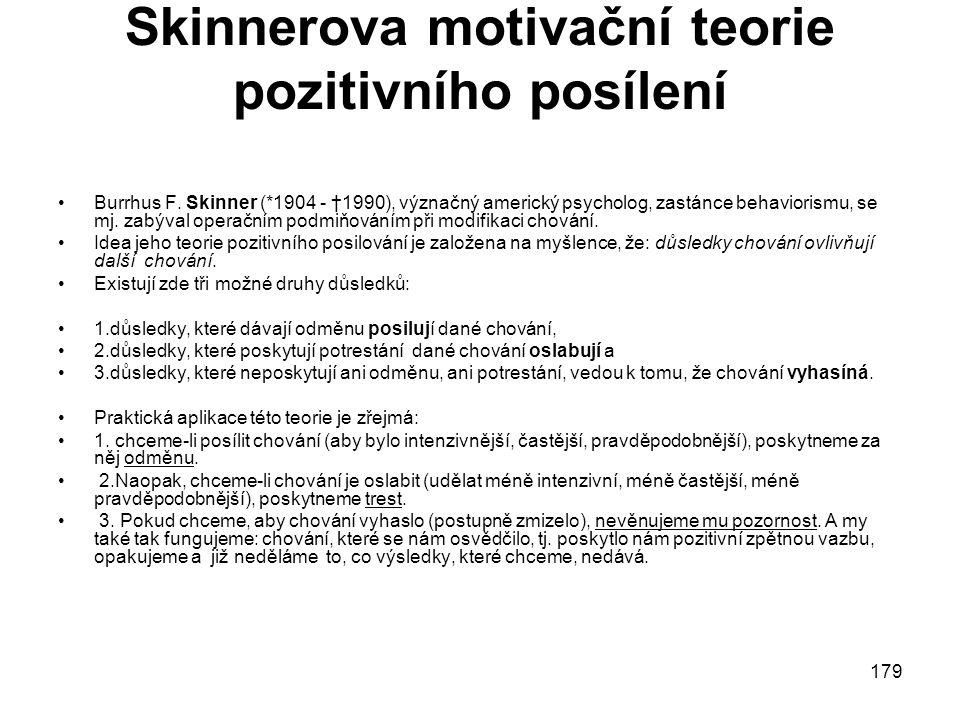 179 Skinnerova motivační teorie pozitivního posílení Burrhus F.