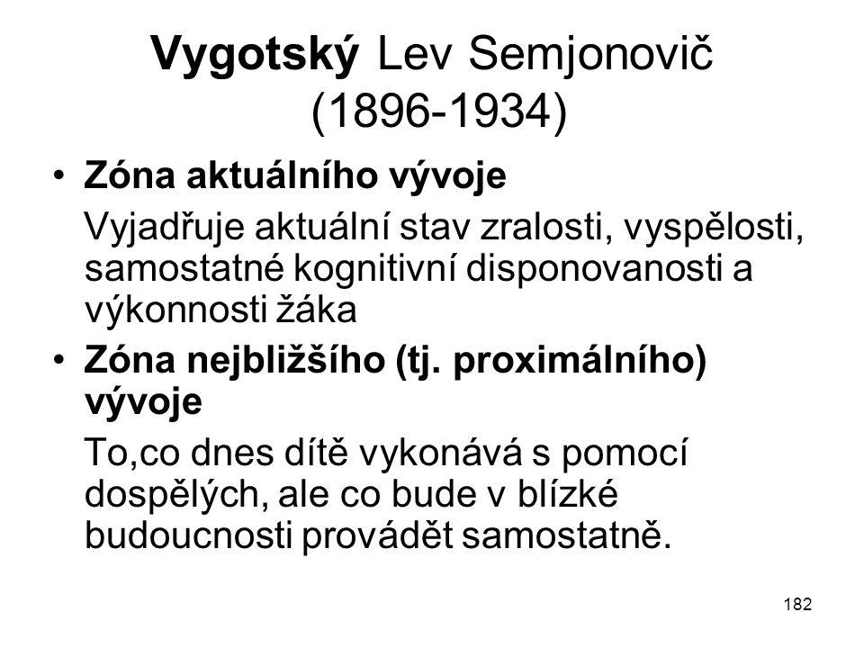 182 Vygotský Lev Semjonovič (1896-1934) Zóna aktuálního vývoje Vyjadřuje aktuální stav zralosti, vyspělosti, samostatné kognitivní disponovanosti a výkonnosti žáka Zóna nejbližšího (tj.