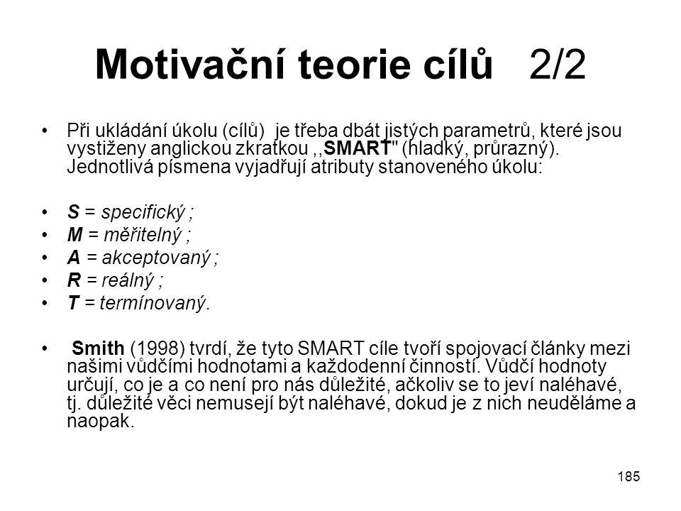 185 Motivační teorie cílů 2/2 Při ukládání úkolu (cílů) je třeba dbát jistých parametrů, které jsou vystiženy anglickou zkratkou,,SMART (hladký, průrazný).