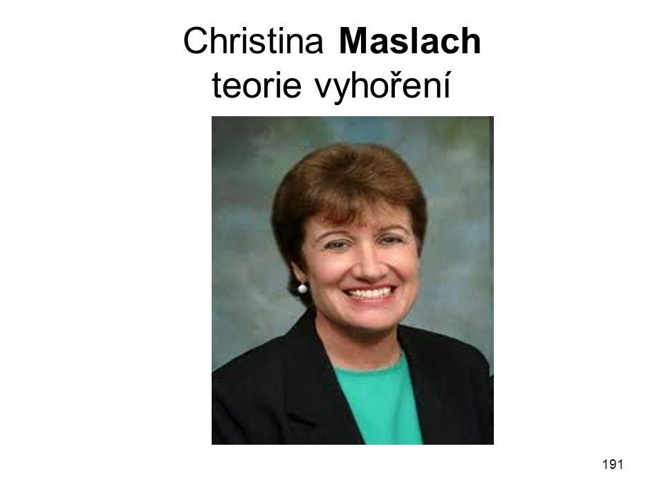 191 Christina Maslach teorie vyhoření