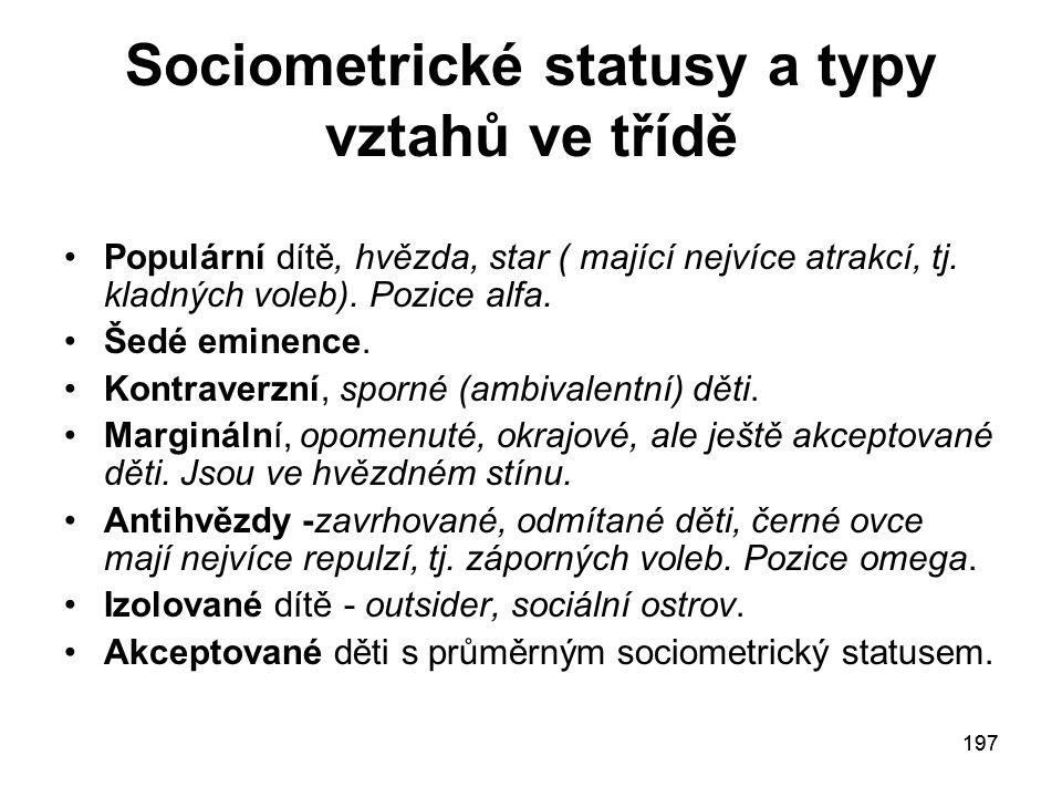 197 Sociometrické statusy a typy vztahů ve třídě Populární dítě, hvězda, star ( mající nejvíce atrakcí, tj.
