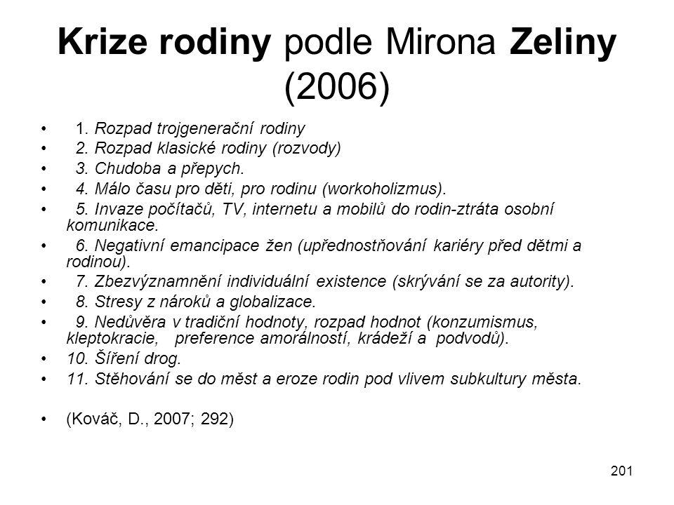 201 Krize rodiny podle Mirona Zeliny (2006) 1.Rozpad trojgenerační rodiny 2.