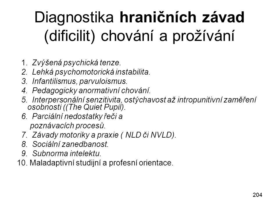 204 Diagnostika hraničních závad (dificilit) chování a prožívání 1.