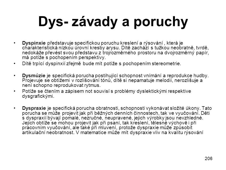 206 Dys- závady a poruchy Dyspinxie představuje specifickou poruchu kreslení a rýsování, která je charakteristická nízkou úrovní kresby arysu.