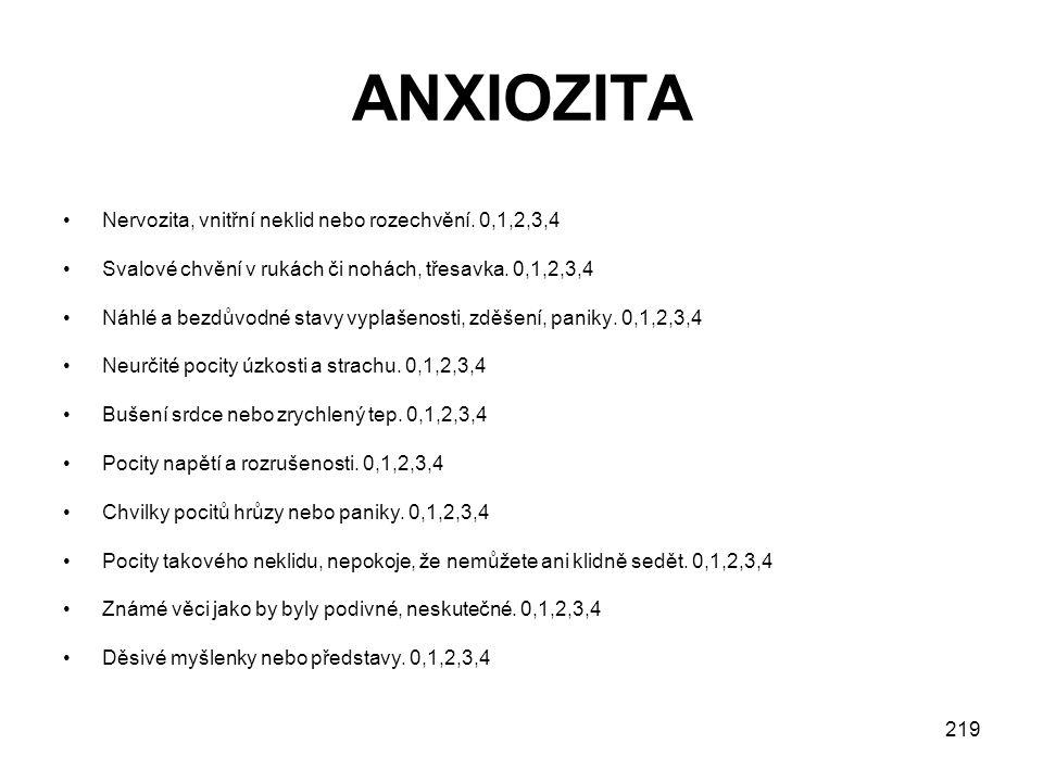 219 ANXIOZITA Nervozita, vnitřní neklid nebo rozechvění.