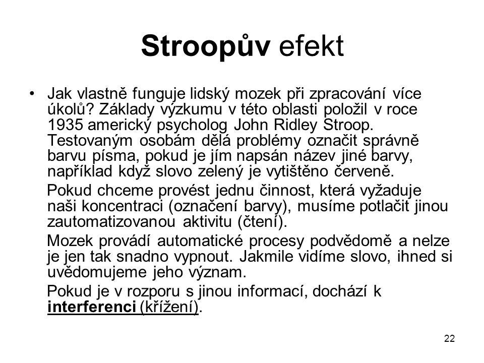 22 Stroopův efekt Jak vlastně funguje lidský mozek při zpracování více úkolů.