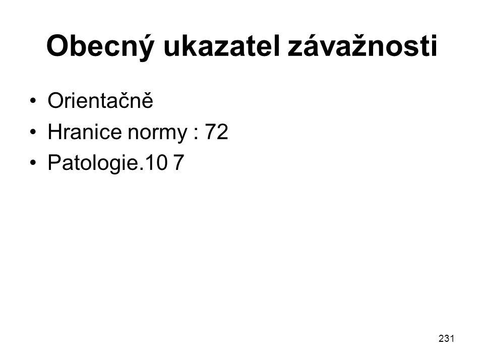 231 Obecný ukazatel závažnosti Orientačně Hranice normy : 72 Patologie.10 7