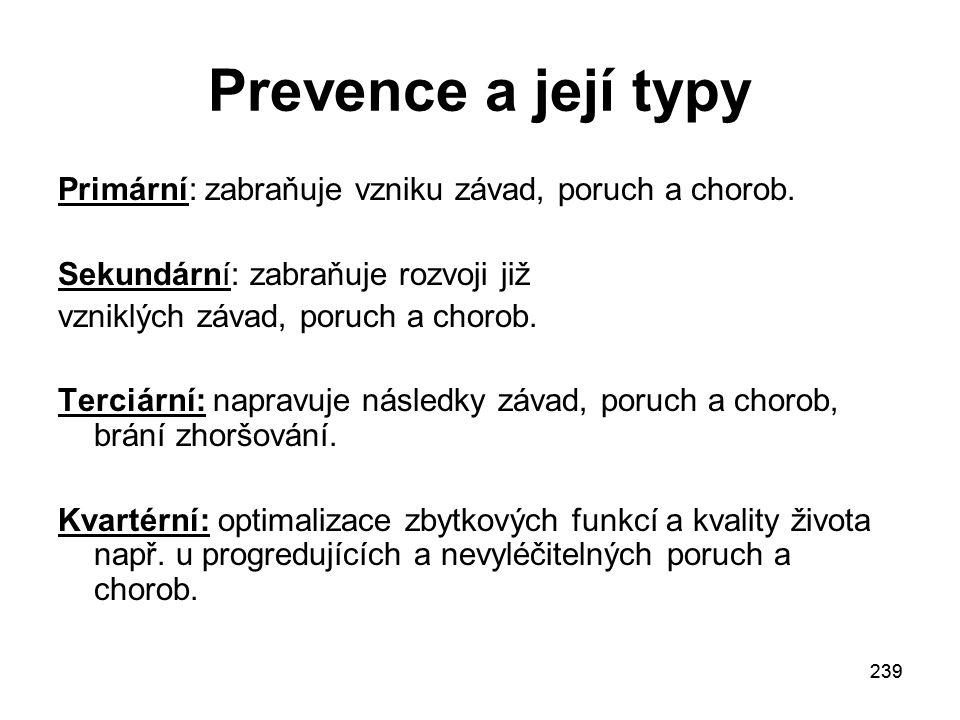 239 Prevence a její typy Primární: zabraňuje vzniku závad, poruch a chorob.