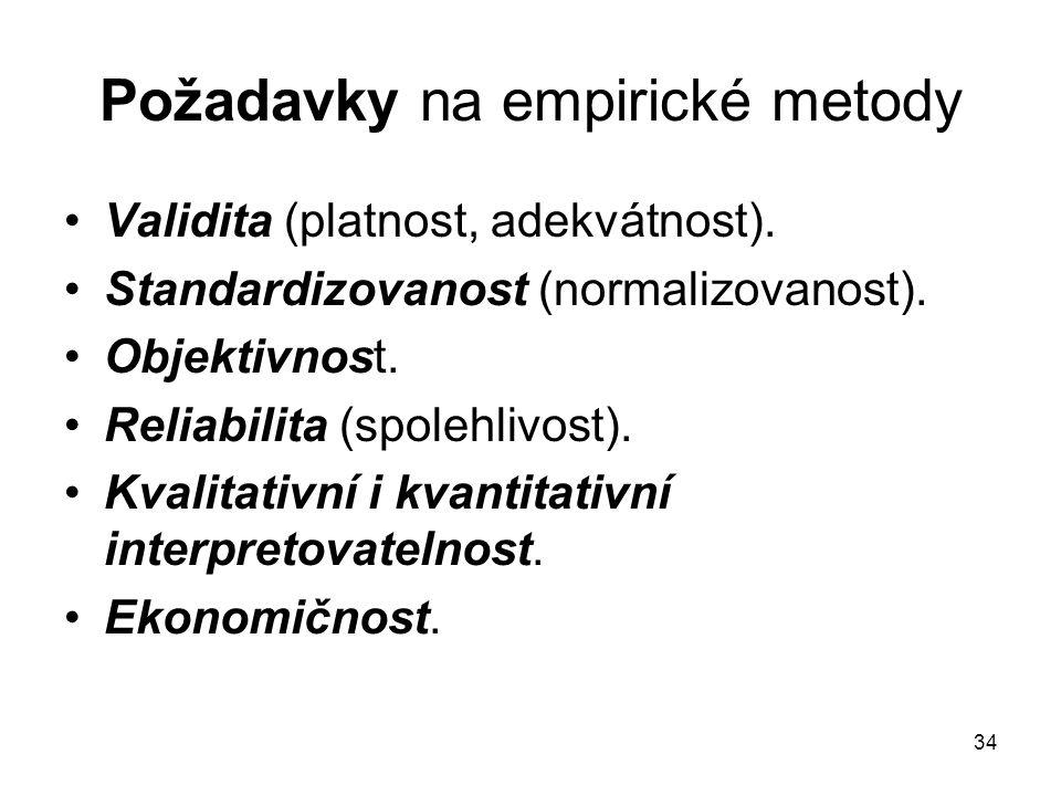 34 Požadavky na empirické metody Validita (platnost, adekvátnost).