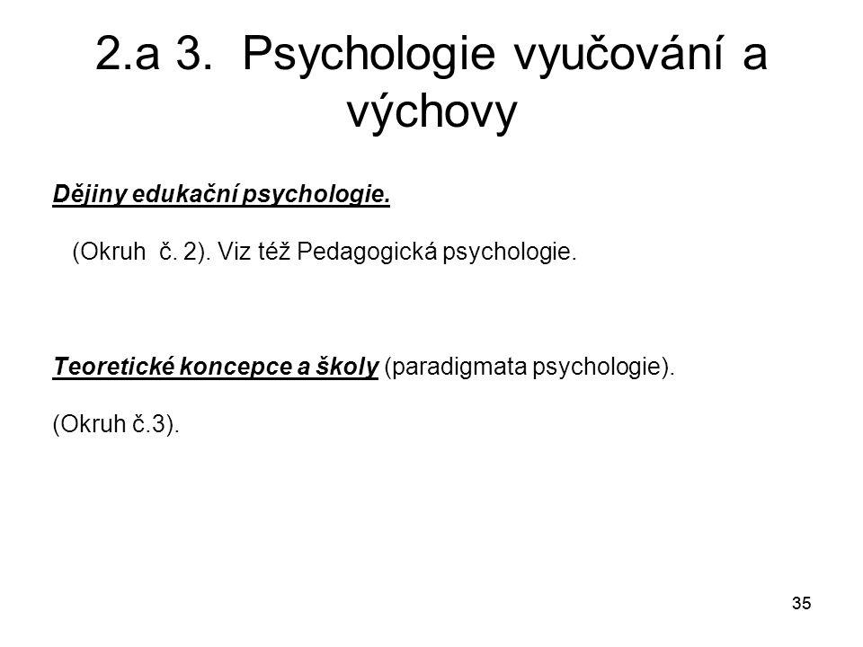 35 2.a 3.Psychologie vyučování a výchovy Dějiny edukační psychologie.