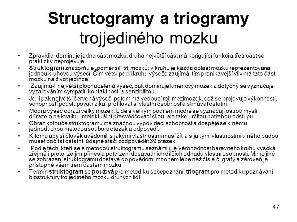 47 Structogramy a triogramy trojjediného mozku Zpravidla dominuje jedna část mozku, druhá největší část má korigující funkci a třetí část se prakticky neprojevuje.