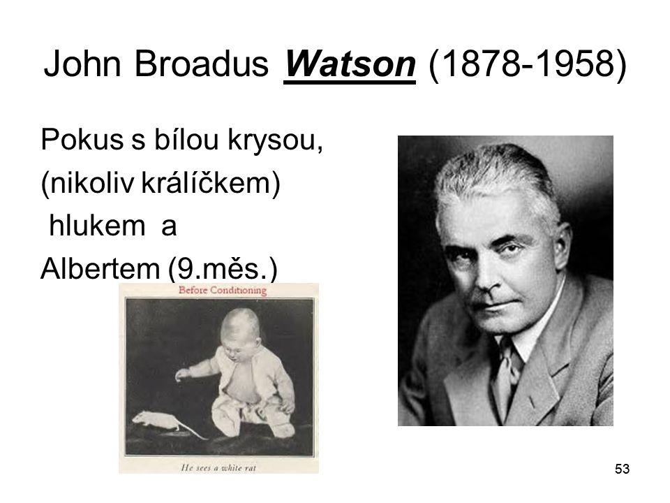 53 John Broadus Watson (1878-1958) Pokus s bílou krysou, (nikoliv králíčkem) hlukem a Albertem (9.měs.)
