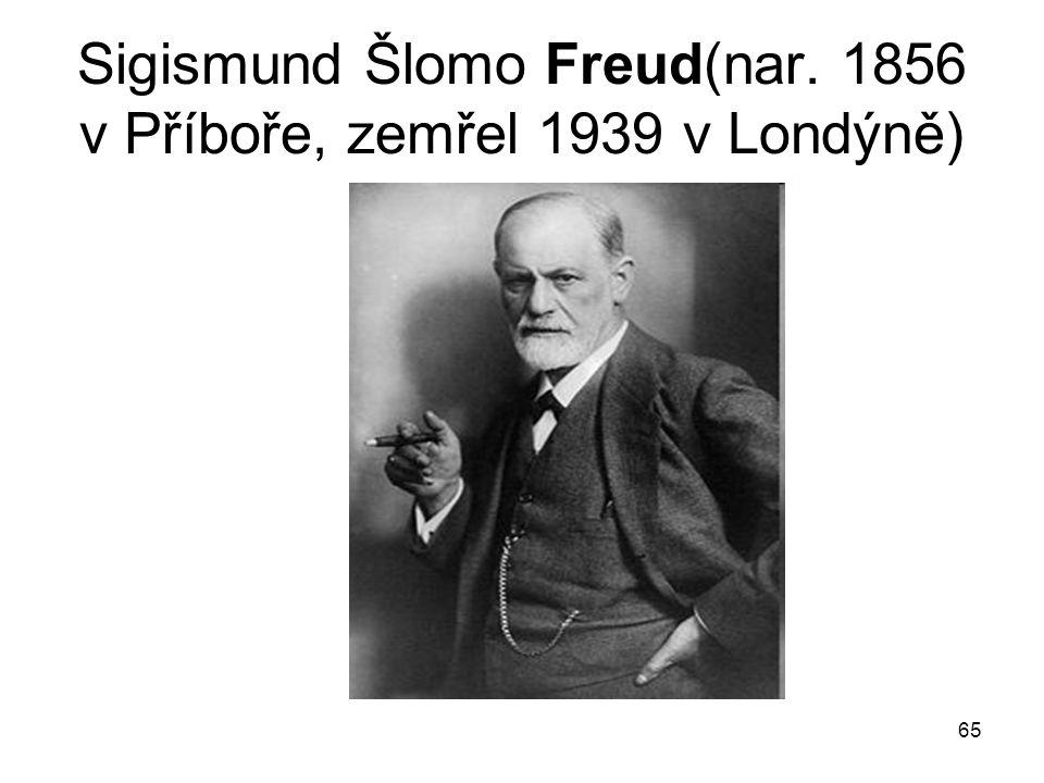 65 Sigismund Šlomo Freud(nar. 1856 v Příboře, zemřel 1939 v Londýně)