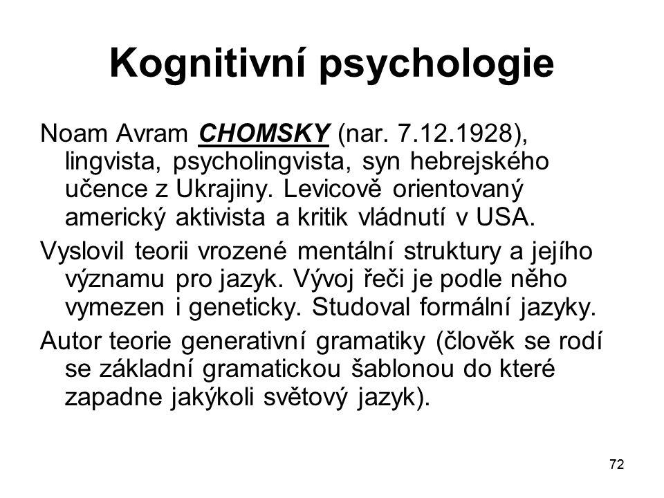 72 Kognitivní psychologie Noam Avram CHOMSKY (nar.