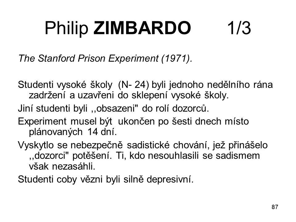 87 Philip ZIMBARDO 1/3 The Stanford Prison Experiment (1971).