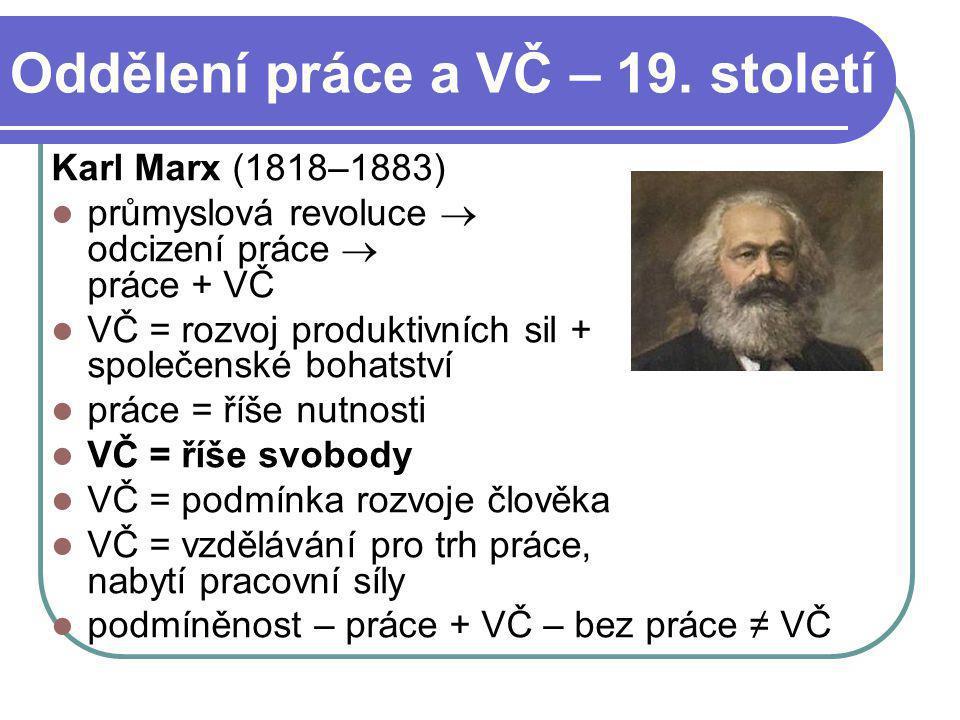 Oddělení práce a VČ – 19. století Karl Marx (1818–1883) průmyslová revoluce  odcizení práce  práce + VČ VČ = rozvoj produktivních sil + společenské