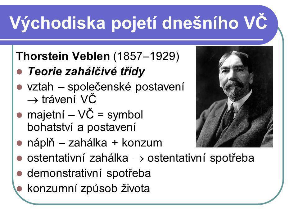 Východiska pojetí dnešního VČ Thorstein Veblen (1857–1929) Teorie zahálčivé třídy vztah – společenské postavení  trávení VČ majetní – VČ = symbol boh