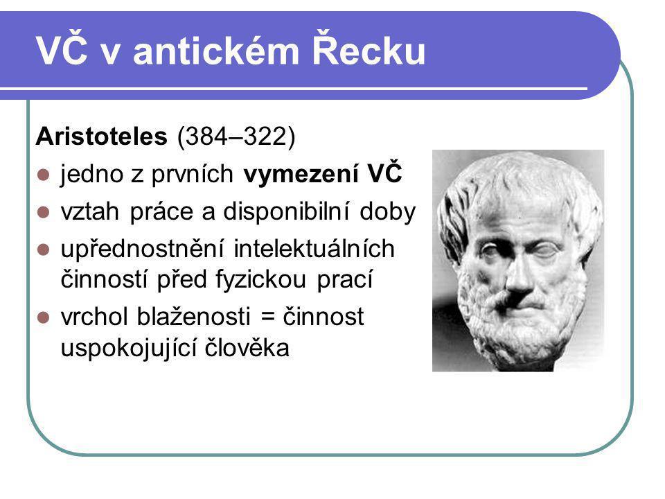 VČ v antickém Řecku Aristoteles (384–322) jedno z prvních vymezení VČ vztah práce a disponibilní doby upřednostnění intelektuálních činností před fyzi
