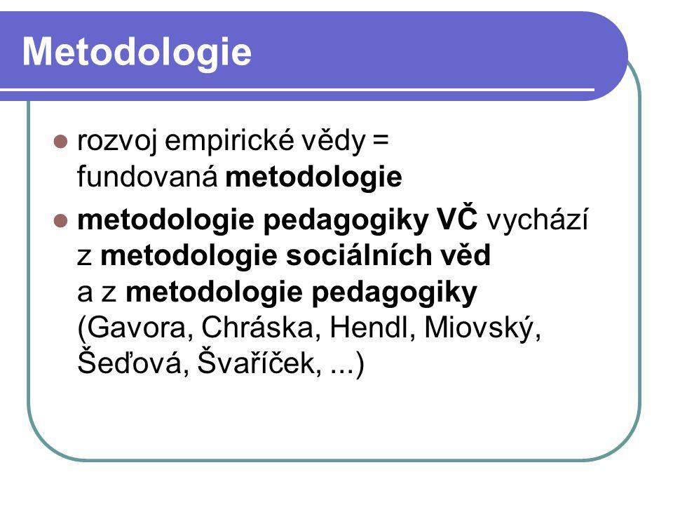 Metodologie rozvoj empirické vědy = fundovaná metodologie metodologie pedagogiky VČ vychází z metodologie sociálních věd a z metodologie pedagogiky (G