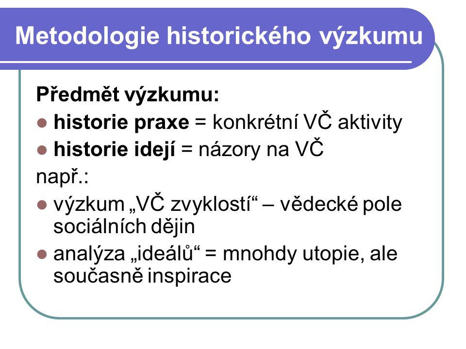 Metodologie historického výzkumu Historický výzkum: předmět = komplexní dějiny lidstva (i VČ) X – empirický výzkum = předmět reálně existuje historický výzkum = objekt vědeckého zájmu zde a nyní neexistuje  hlavní metoda = analýza historických pramenů