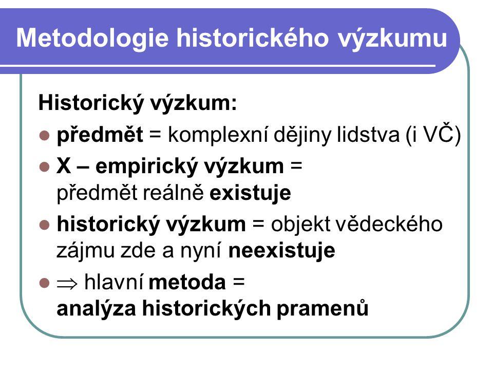 Metodologie historického výzkumu Historický výzkum: předmět = komplexní dějiny lidstva (i VČ) X – empirický výzkum = předmět reálně existuje historick