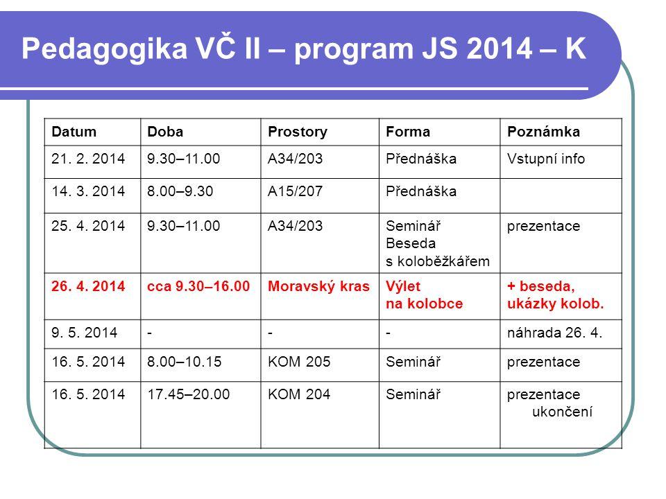 Pedagogika VČ II – program JS 2014 – K DatumDobaProstoryFormaPoznámka 21. 2. 20149.30–11.00A34/203PřednáškaVstupní info 14. 3. 20148.00–9.30A15/207Pře