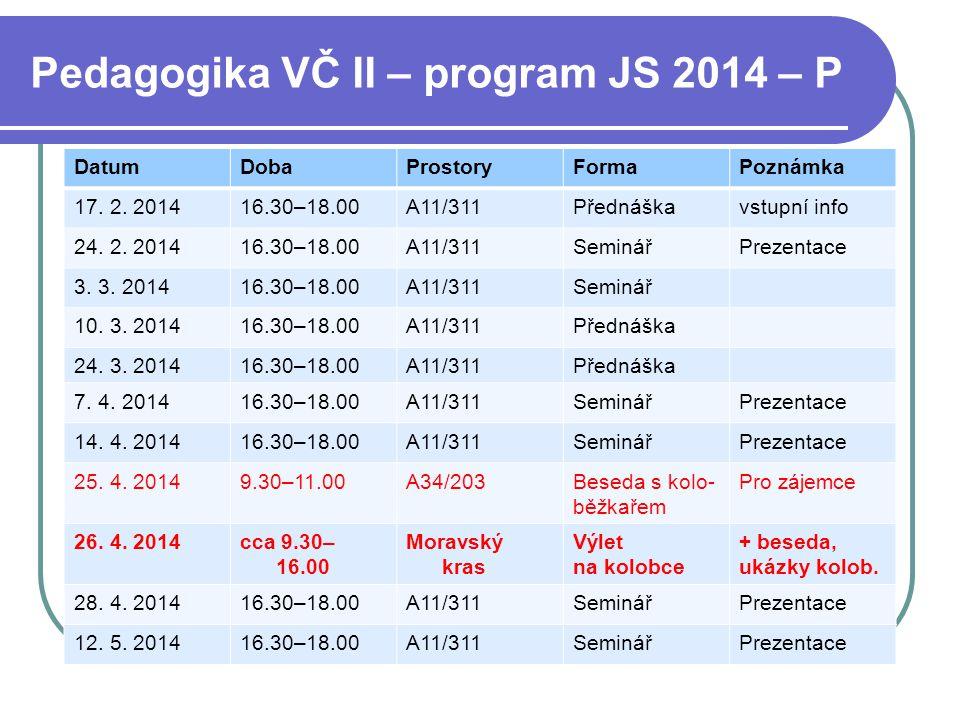 Pedagogika VČ II – program JS 2014 – P DatumDobaProstoryFormaPoznámka 17. 2. 201416.30–18.00A11/311Přednáškavstupní info 24. 2. 201416.30–18.00A11/311