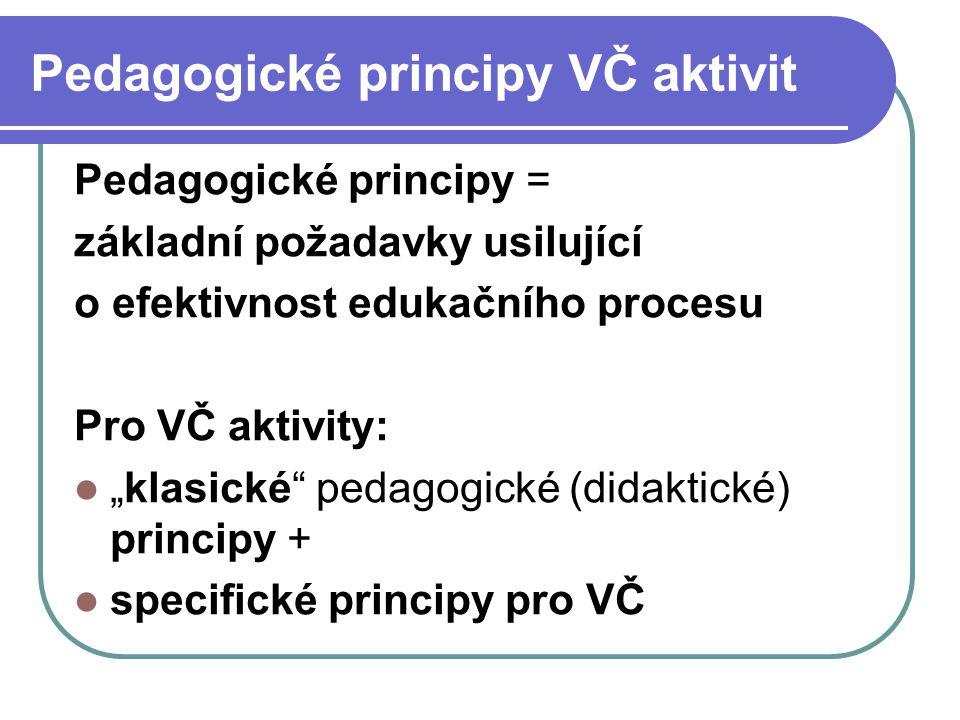 """Pedagogické principy VČ aktivit Pedagogické principy = základní požadavky usilující o efektivnost edukačního procesu Pro VČ aktivity: """"klasické"""" pedag"""