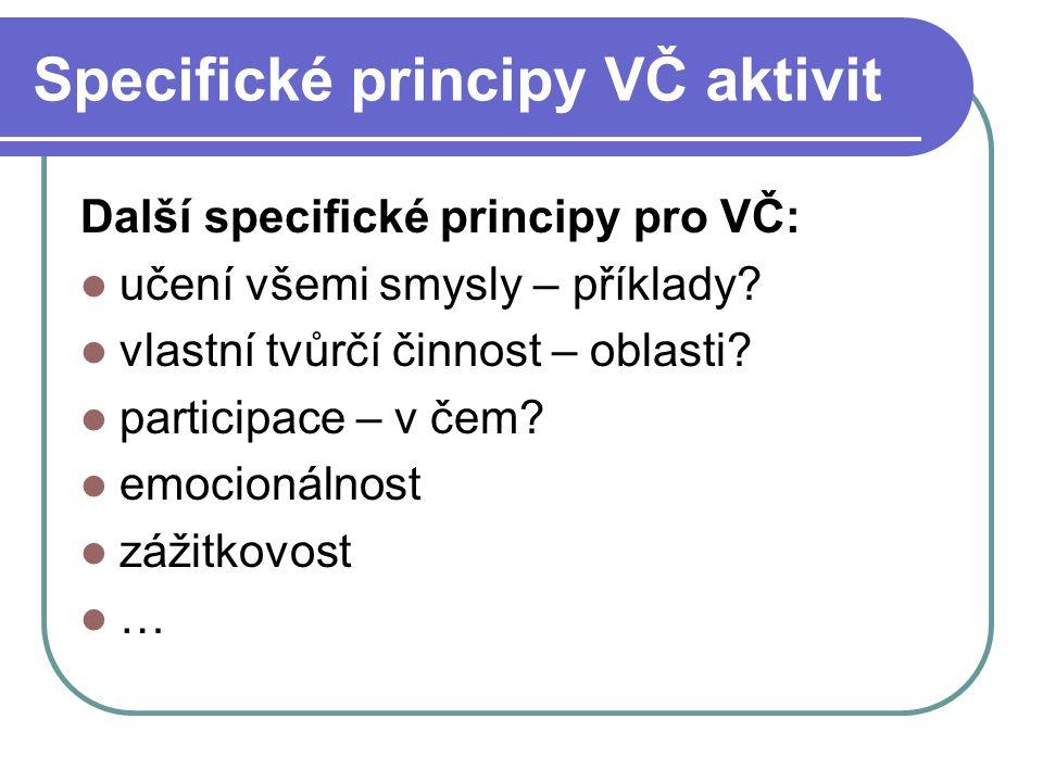 Specifické principy VČ aktivit Další specifické principy pro VČ: učení všemi smysly – příklady? vlastní tvůrčí činnost – oblasti? participace – v čem?