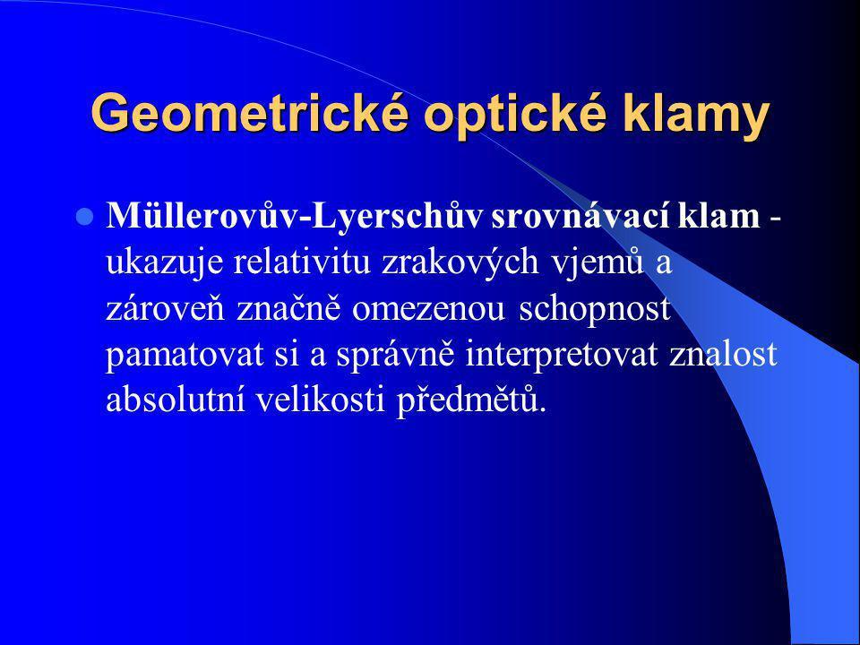 Geometrické optické klamy Müllerovův-Lyerschův srovnávací klam - ukazuje relativitu zrakových vjemů a zároveň značně omezenou schopnost pamatovat si a
