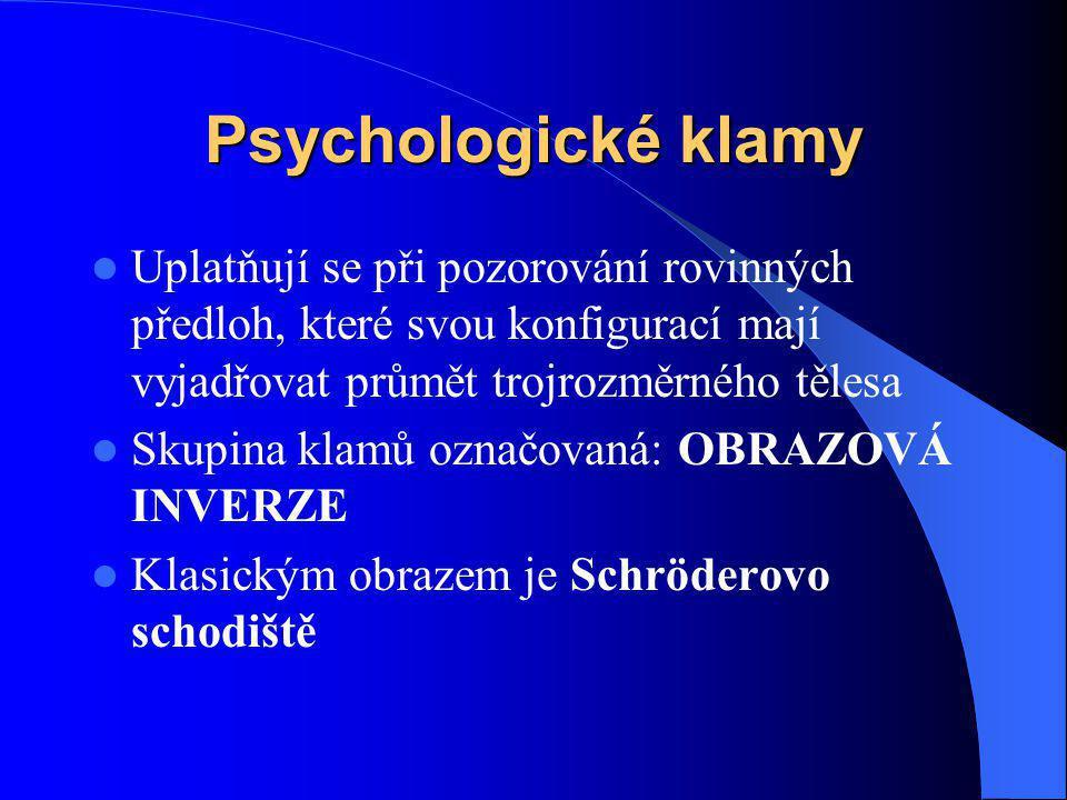 Psychologické klamy Uplatňují se při pozorování rovinných předloh, které svou konfigurací mají vyjadřovat průmět trojrozměrného tělesa Skupina klamů o