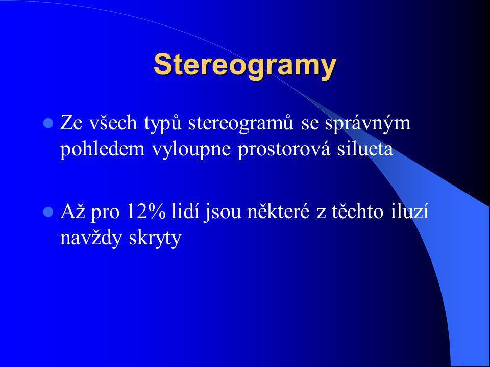 Stereogramy Ze všech typů stereogramů se správným pohledem vyloupne prostorová silueta Až pro 12% lidí jsou některé z těchto iluzí navždy skryty