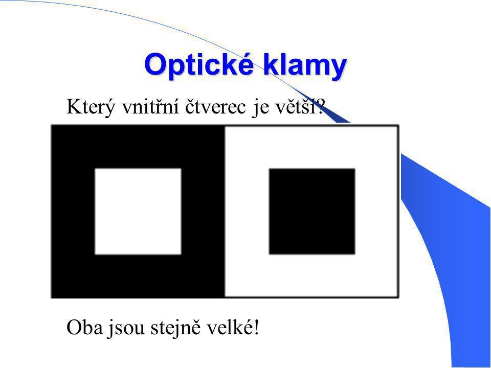 Optické klamy Který vnitřní čtverec je větší? Oba jsou stejně velké!
