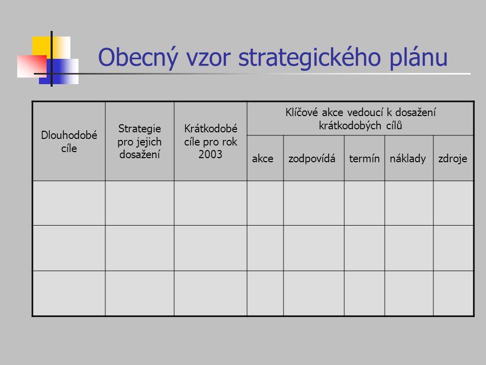 Obecný vzor strategického plánu Dlouhodobé cíle Strategie pro jejich dosažení Krátkodobé cíle pro rok 2003 Klíčové akce vedoucí k dosažení krátkodobýc