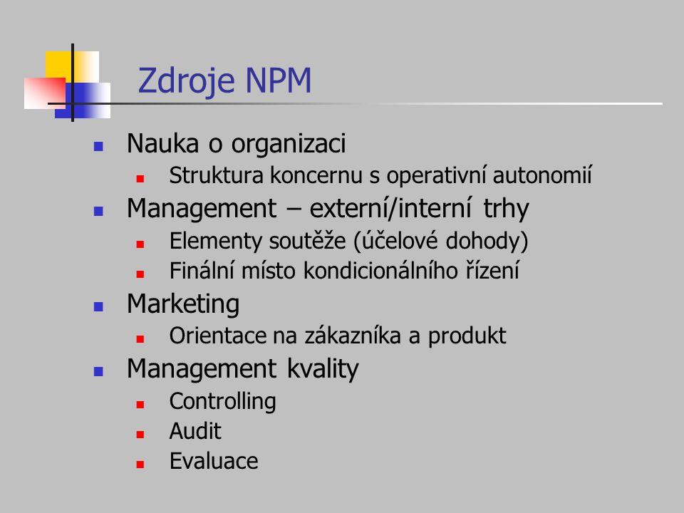 Zdroje NPM Nauka o organizaci Struktura koncernu s operativní autonomií Management – externí/interní trhy Elementy soutěže (účelové dohody) Finální mí