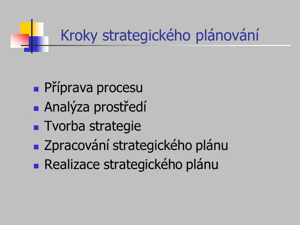 Příprava procesu Zda a kdy strategické plánování provést; očekávané přínosy a rizika Potřeba konzultantů Dohodnutí plánovacího procesu Vytvoření plánovacího týmu
