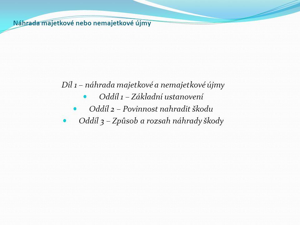 Náhrada majetkové nebo nemajetkové újmy Díl 1 – náhrada majetkové a nemajetkové újmy Oddíl 1 – Základní ustanovení Oddíl 2 – Povinnost nahradit škodu Oddíl 3 – Způsob a rozsah náhrady škody