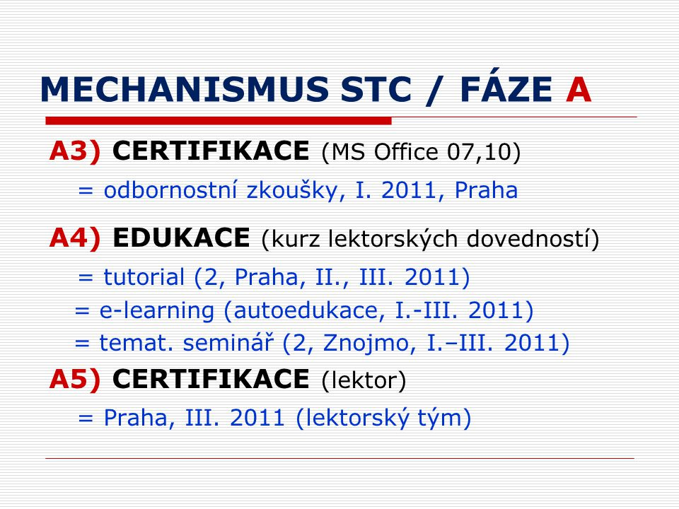 MECHANISMUS STC / FÁZE A A3) CERTIFIKACE (MS Office 07,10) = odbornostní zkoušky, I.