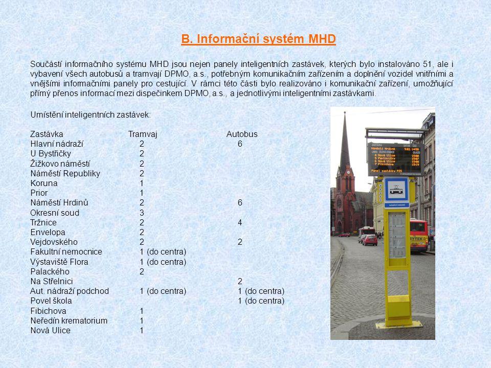 B. Informační systém MHD Součástí informačního systému MHD jsou nejen panely inteligentních zastávek, kterých bylo instalováno 51, ale i vybavení všec